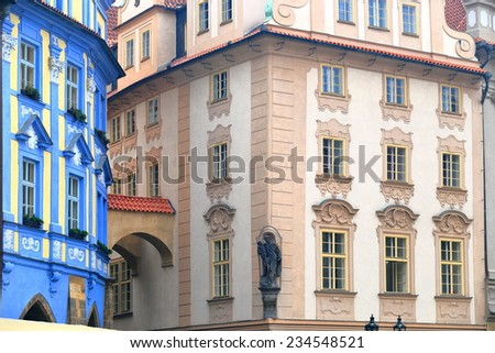 Colorful facades on the streets of Prague Old Town, Czech Republic - stock photo