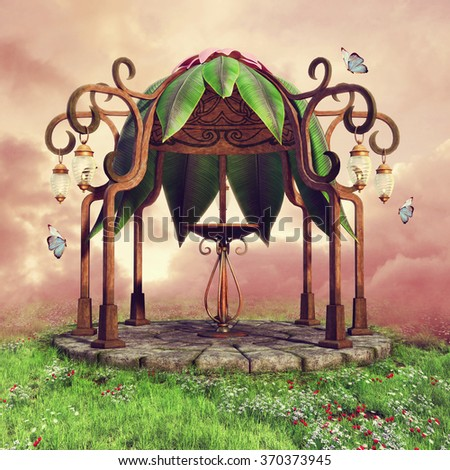 Colorful fairytale gazebo with lanterns on a meadow with spring flowers