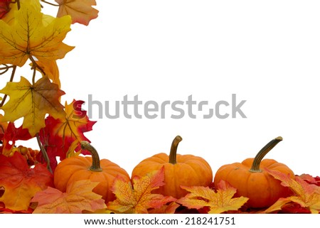 Colorful Fall Border, Three small pumpkins on fall leaves isolated on white - stock photo