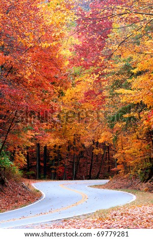 Colorful Fall S Curve on Fort Mountain near Chatsworth Georgia. - stock photo