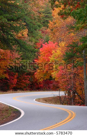 Colorful fall scene over Fort Mountain. Chatsworth Georgia - stock photo
