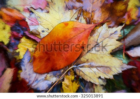 Colorful fallen Autumn leaves transformed into a painting - stock photo