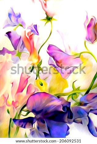 Colorful fantastic flowers. Watercolor on paper with digital texture. - stock photo