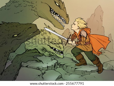 Colorful fantasy illustration of a hero going to fight dragons with a sword - stock photo