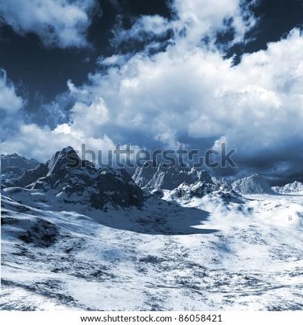 colorful fantasy landscape - stock photo