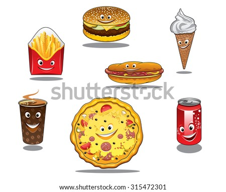 Colorful fast food and takeaway food icons with packet of French fries, burger ice cream cone coffee pizza hotdog and soda all with happy faces, cartoon style - stock photo