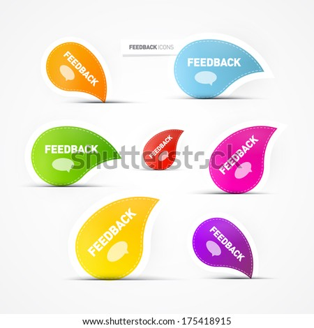 Colorful feedback icons  isolated on grey background - Also Available in Vector Version