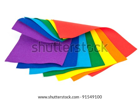 colorful felt on white - stock photo