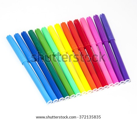 Colorful Felt Tip Pens isolated on a white background  - stock photo