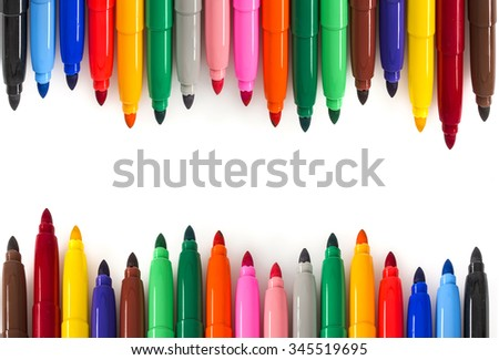 Colorful Felt Tip Pens .Multicolored Felt-Tip Pens .Multicolored Felt-Tip Pens isolated on a white background . - stock photo