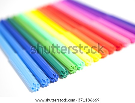 Colorful Felt Tip Pens. Multicolored Pens on a white background . - stock photo