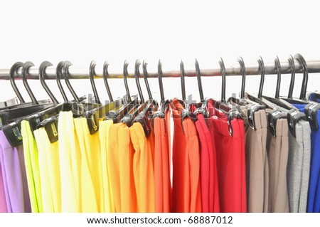 colorful female trousers background - stock photo