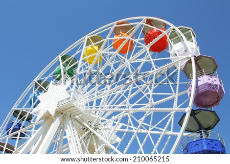 Colorful ferris wheel in amusement park of Barcelona
