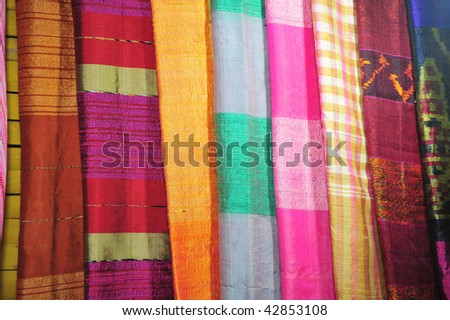 colorful fibre clothes in the markets