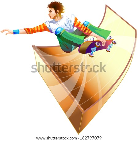 Colorful figure of young man skateboarding