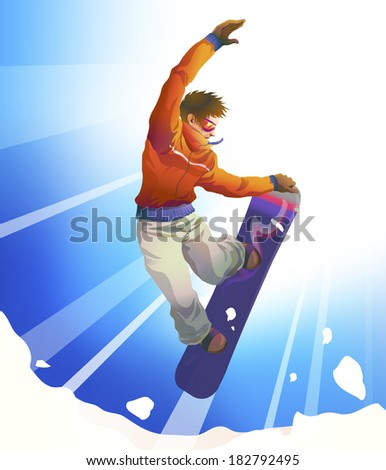 Colorful figure of young man snowboarding