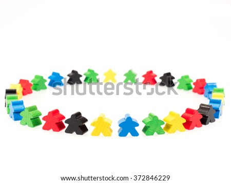 colorful figures forming a circle on white