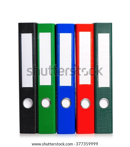 Colorful file folders, isolated on white background  - stock photo