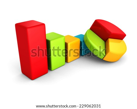 colorful financial chart graphs on white background. business success achivement concept. 3d render illustration - stock photo