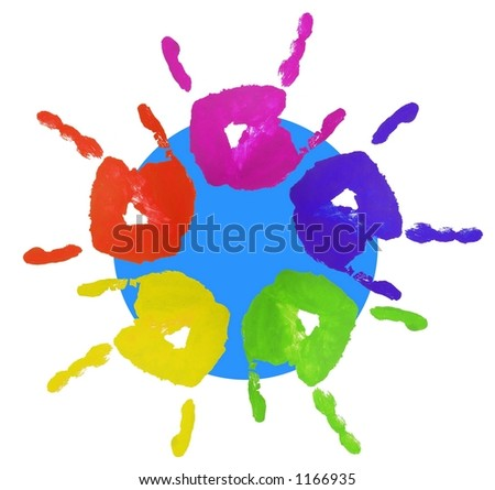 colorful finger painted hands with blue circle behind showing world multicultural diversity - stock photo