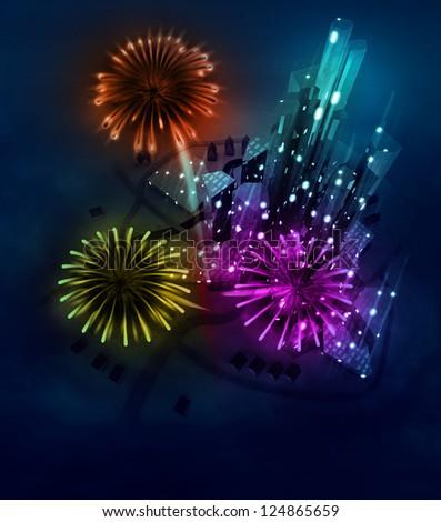 colorful firework celebration above modern city illustration - stock photo