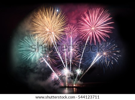 Colorful firework display for celebration