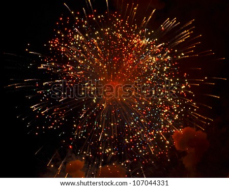Colorful firework explosion - stock photo