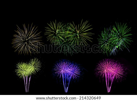 Colorful firework in a night sky - stock photo