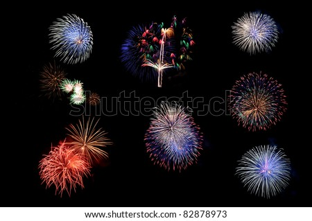 Colorful firework on Black background - stock photo