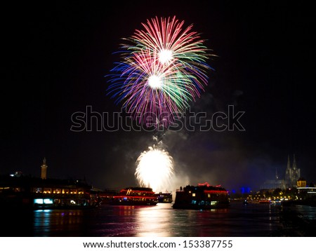 Colorful Firework over Cologne, Germany - stock photo