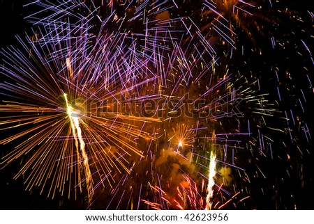 colorful fireworks against dark night