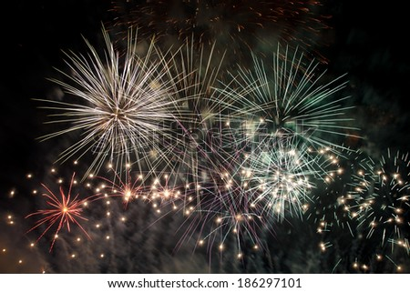 colorful fireworks at dark sky - stock photo