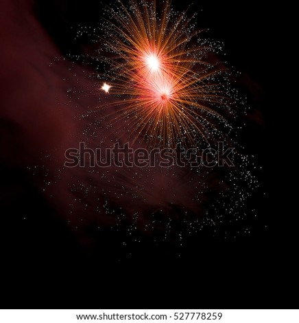 Colorful fireworks background, fireworks festival, Independence day, July 4, freedom. Red fireworks isolated in dark close up with place for text, Malta fireworks festival, New Year