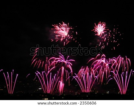 Colorful Fireworks Display. Concept: Celebration or New Year - stock photo