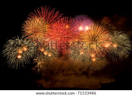 colorful fireworks display happy new year 2011 at Chiangmai province Thailand - stock photo