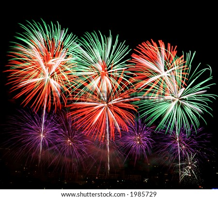 Colorful fireworks display. Shots taken on tripod with mirror lockup and shutter release cable to ensure minimum camera shake. - stock photo