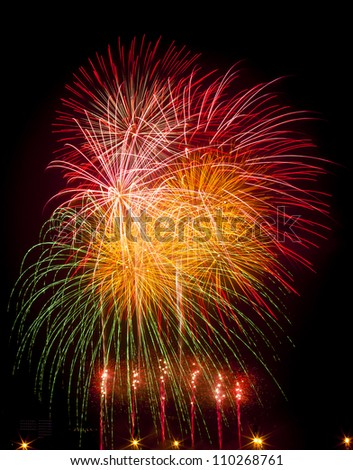 Colorful fireworks displayed on January 1 - stock photo
