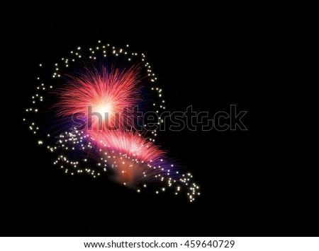 Colorful fireworks explode, red magenta violet fireworks background. Light art. Visual art. fireworks festival, Independence day, Bastilian day, freedom. Fireworks - stock photo