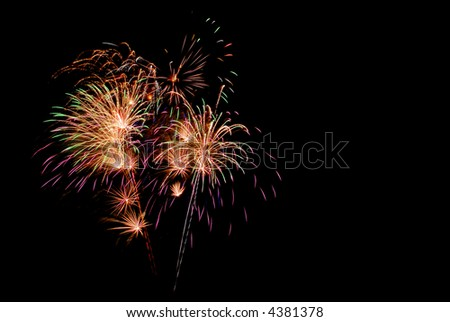 colorful fireworks for celebration of new year or 4th of july isolated on black background