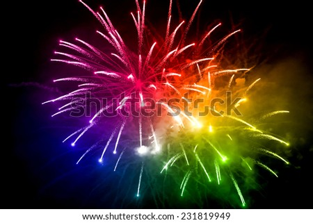 colorful fireworks 2015 happy new year - stock photo