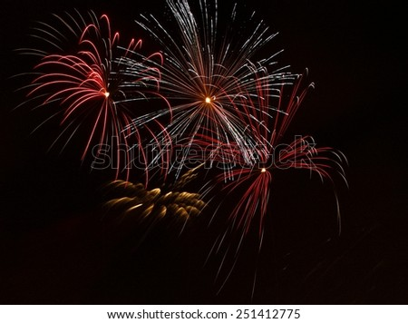 Colorful fireworks in dark background,Malta fireworks festival, 4 of July, Independence day, New Year, explode, fireworks, fireworks festival isolated in dark background with the place for text