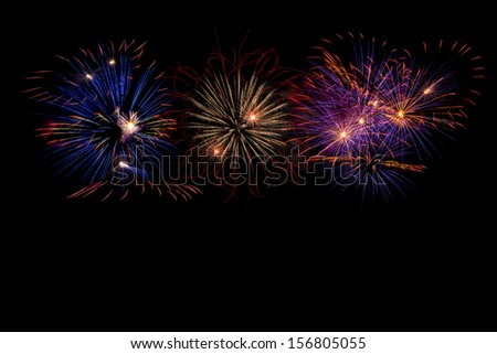 Colorful Fireworks On Dark Sky
