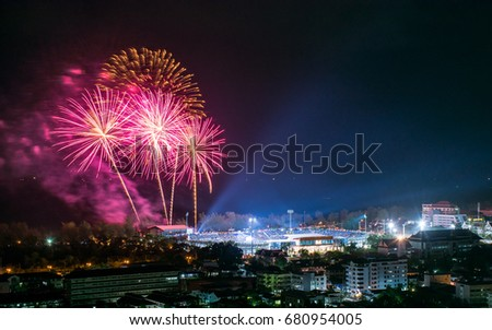 "Colorful Fireworks on the Back Sky Background The Opening Ceremony of 45th Thailand National Games ""Songkhla Games"""