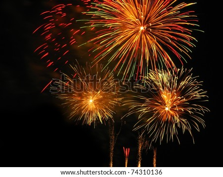 Colorful fireworks over dark sky, displayed during Barcelona Patron Saint La Merce (24th of september) - stock photo