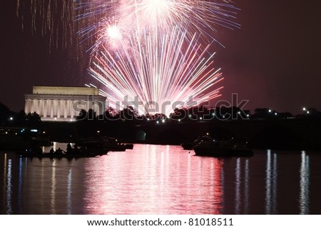 Colorful  Fireworks over Lincoln Memorial and Washington Monument - stock photo