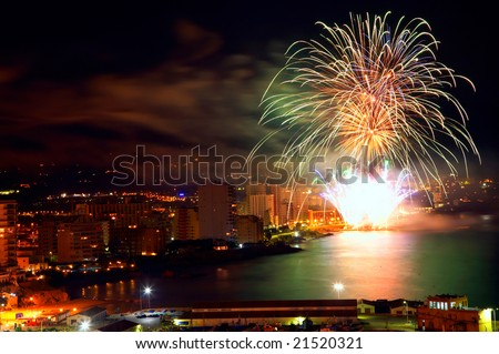 colorful fireworks over the sea
