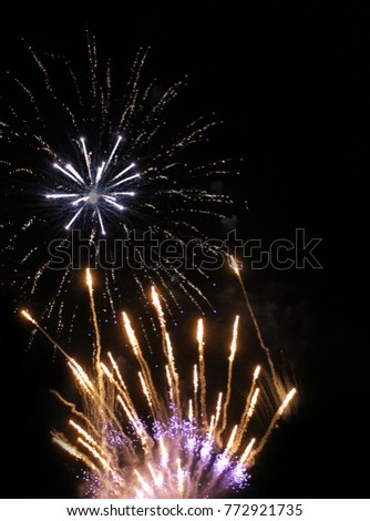 Colorful fireworks with copyspace. Background for New Year, Independence Day or other celebrations