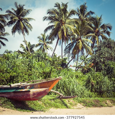 Colorful fishing boat on a tropical beach with palm trees and mangrove in the background - stock photo