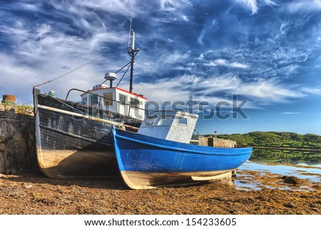 Colorful fishing ships in Ireland. - stock photo