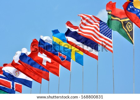 Colorful flags from different countries  - stock photo